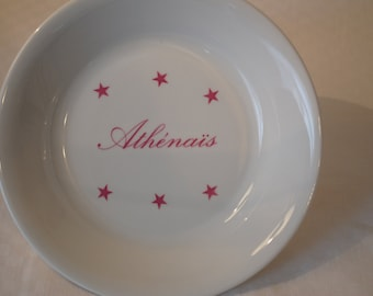 Pink baby personalized classic stars plate