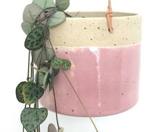 SOLD OUT Pink handmade ceramic hanging planter (medium)