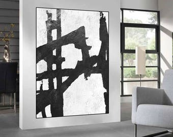 large acrylic painting on canvas, black and white Abstract painting, original abstract  Painting, large canvas art painting,