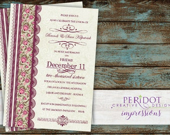"Vintage Monogram Wedding Invitation_Burgundy Floral Lace - 5""x7"""