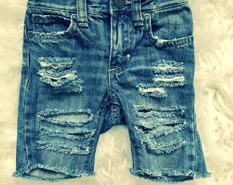 NIKO destroyed distressed true blue jean shorts