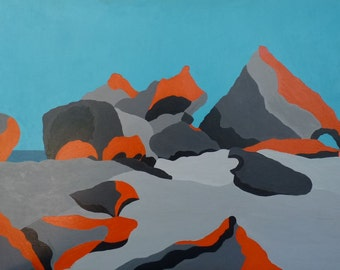 Acrylic painting on board. Remarkable Rocks 1