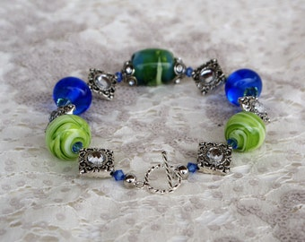 Chunky Lampwork Beaded Bracelet Swirled Blues/Greens/White with Swarovski Crystals