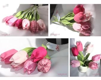 Teacher gift-lovely fabric tulips bouquet