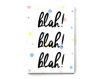 A5 Notebook 'Blah, Blah, Blah', Humour Stationery