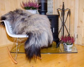 Sheepskin. Grey sheepskin.  Natural Sheepskin Rug. Super Soft Silky Long Wool.