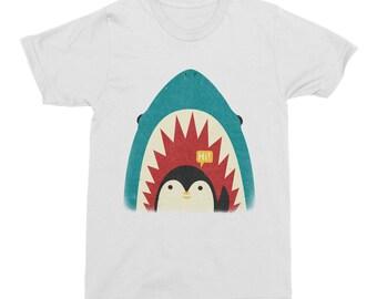 Penguin and Shark TShirt, Shark Mens T-Shirt, Penguin Mens T-shirt, White Waving Penguin Shark TShirt, Gift, Artist Designed Men's T-Shirt
