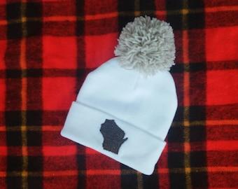 Wisconsin State Winter Hat (White)
