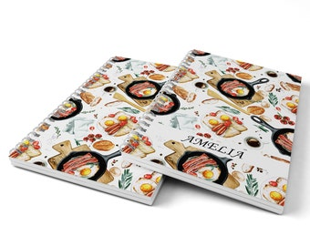 Bacon and Eggs Notebook.  Hard Cover Spiral Notebook. Notepad. Journal.