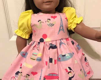 Whimsical Paris dress for American Girl or Other 18 inch Doll