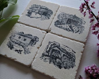 Four Seasons Covered Bridges Coaster set, Set of 4, Natural Tumbled Stone, black and white