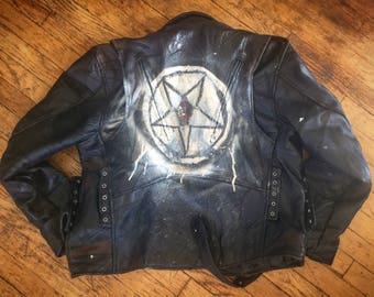 Vintage Punk Moto Hand-Painted Leather Jacket