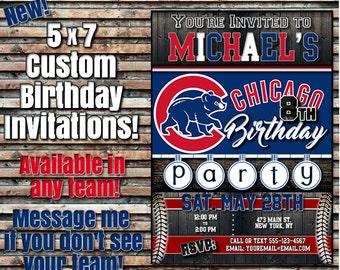 SUPER SALE Custom Chicago Cubs 5x7 Printable Birthday Party Invitation Digital Download