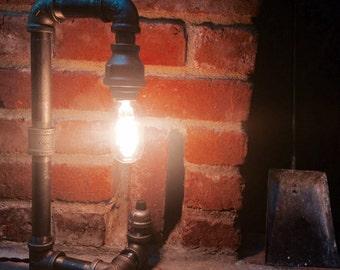 Desk Lamp - Industrial Lighting - Steel Pipe Light - Industrial Revoultion - Steampunk - Mood Lighting - Edison Bulb - Filament