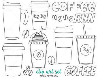 Coffee Run, Coffee To Go, Travel Mug - Cute Digital Stamps, Line Art  - Commercial Use, Instant Download