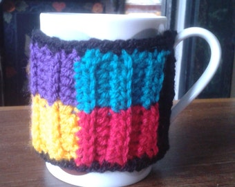 Hug your mug with a patchwork crochet cosy! Perfect gift, present, Christmas