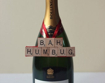 Bah Humbug Christmas decoration for Xmas tree, door handles or bottles. Perfect for the Scrooge in your life.
