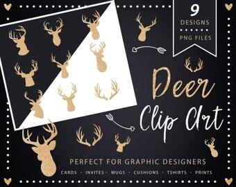 Deer Head Clipart - gold glitter silhouettes - Stag Head Clipart  - Deer clipart - stag clipart silhouettes  gold antler - Antler Silhouette