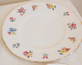 Royal Vale vintage meadow flowers plate. Bone china Made in England. Ideal for Tea & Coffee lovers, tea party, housewarming, high tea
