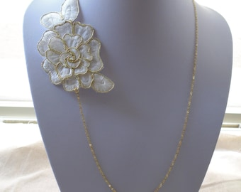 lace necklace white and gold