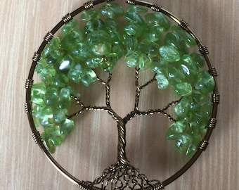 Wire tree of life necklace spring green stone tree of life pendant
