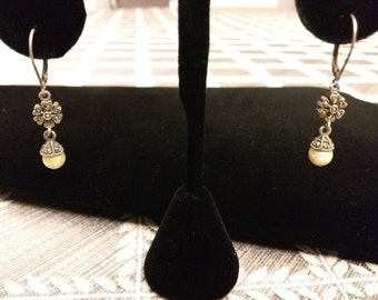 Vintage Silver Pearl and Marcasite Earrings