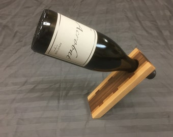 Hardwood Balancing Wine Bottle Holder