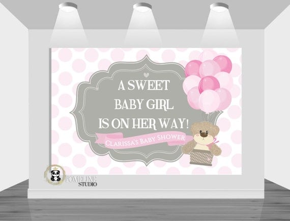 PRINTABLE backdrop|| It's a Girl!|| Customizable|| Any Wording