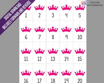 Pink Crown Live Jewelry Sales Reverse & Forward Numbers 1-500 | Mirror Image Tags | Backwards Inventory Cards | 20 per Page Printable PDF