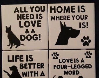 Dog Themed Ceramic Coasters