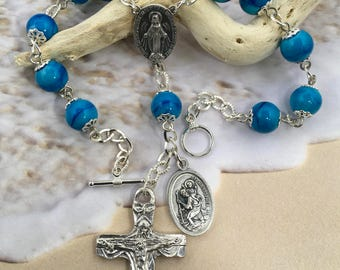 Auto rosary, rear view mirror rosary, car rosary, vehicle rosary, blue car rosary, saint Christopher car rosary, saint christopher rosary,