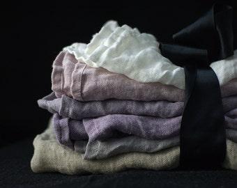 Pure linen (flax) muslin NAPKINS L  set of 4