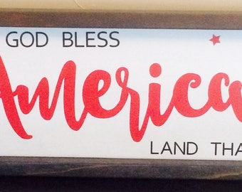 America Framed Wood Sign