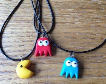 Pac man cord necklace