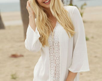 ivory rayon crepon coverup with cotton crochet lace trim at center front