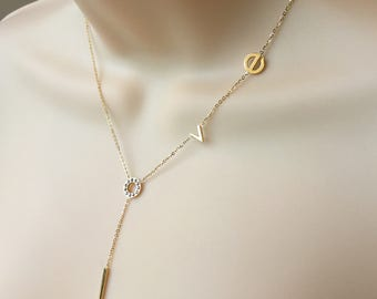 SALE Gold LOVE necklace,Gold necklace, Dainty necklace, Lariat necklace, Y necklace,Anniversary gift