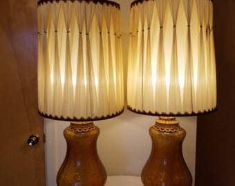 Vintage EFu0026EF Industries Crackled Amber Glass Hollywood Regency Style Table  Lamps