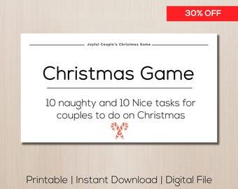 Printable Christmas game, sale, naughty couples game, stocking stuffer, printable sex coupons, sexy couples game, christmas gift
