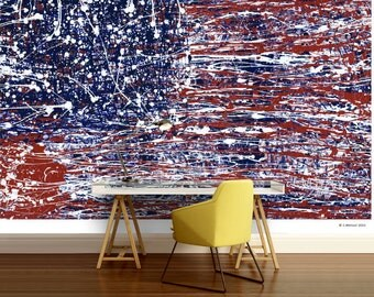 American flag, America wall mural, American flag wall mural, painting mural, American flag wallpaper, wall mural,  painted flag wallpaper
