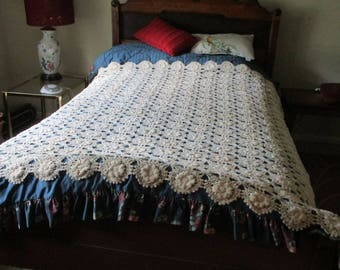Original Museum Quality 1880's Heirloom UNUSED Hand-crocheted Bedspread/coverlet, Made by my Great-Grandmother, 74x74 , has been in storage