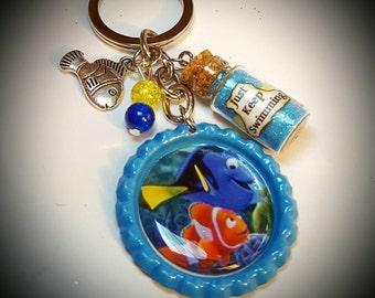 Disney inspired finding Nemo finding Dory keychain
