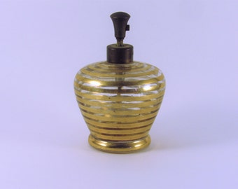 Vintage I.W. Rice Perfume Bottle Clear with Gold Stripes