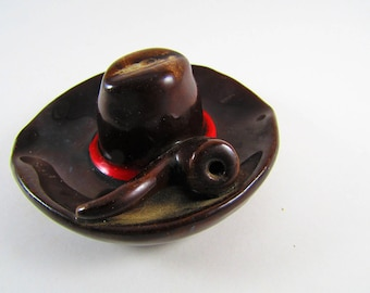 Vintage Cowboy Hat Ashtray, Pipe Accent,  Brown Ceramic