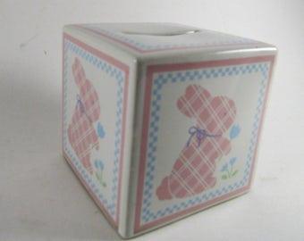 Vintage Hallmark Bunny Rabbit Cube Bank Ceramic Japan