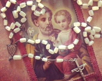 Old Rosary in mother-of-Pearl and silver dating from the early 1910s. Pearl beads. Mother of pearl. Antique rosary. antique french