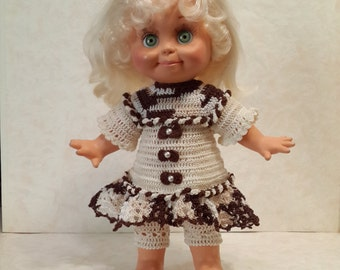 Galoob baby face doll clothes. Crochet dress + crochet pants