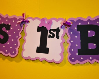 Daisy Duck  Customized Age themed Happy Birthday Banner. Colors can be Customized