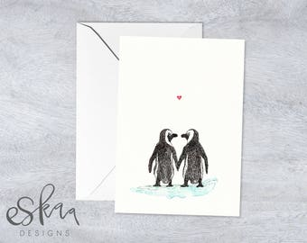 Anniversary card, love card, penguin card, last minute card, printable card, wedding card, card for boyfriend, card for husband, penguin