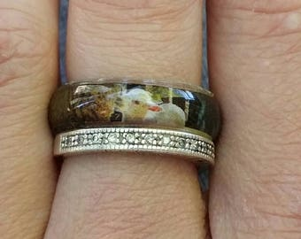 Baby lamb ring, resin ring, spring jewelry, animal ring, magazine clipping jewelry, stack ring, size six and a half band