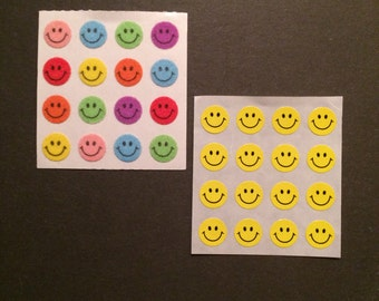 Sandylion vintage rare fuzzy and kromekote/paper smiley face stickers